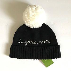 Kate Spade Daydreamer Black hat with white pom pom